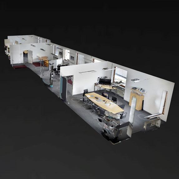 Gebäudeerfassung in 3D bis tausende Quadratmeter möglich